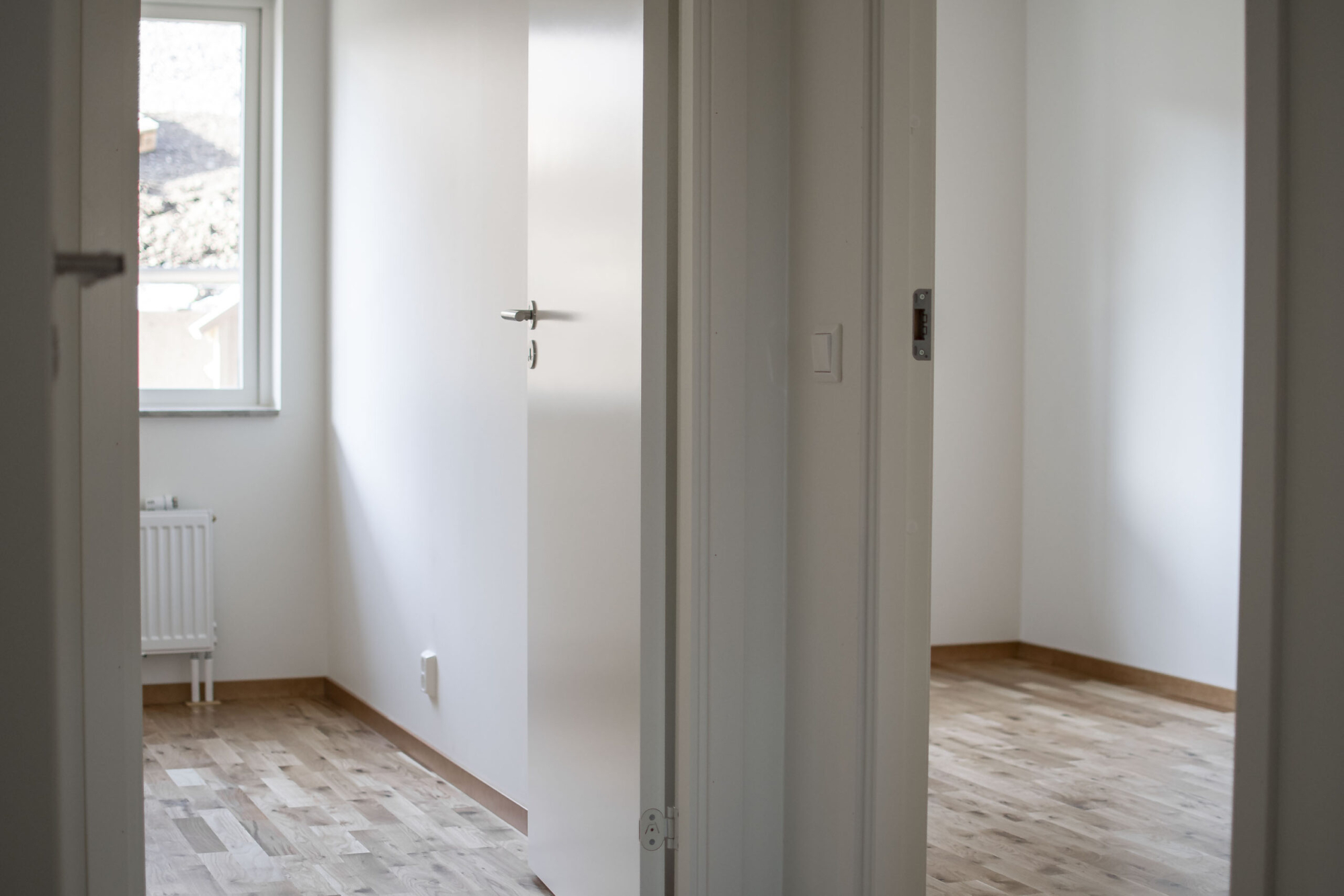 Nybyggda sovrum. Innerväggar i gips gjorda av GDSB Bygg.